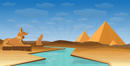 Egypt desert with pyramid Egyptian deity Anubi and Ailuros and Nile