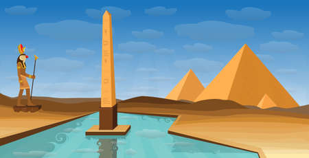 Egypt desert with pyramid Egyptian deity RA, obelisk and Nile