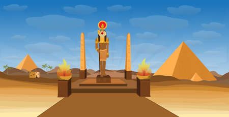 ancient Egypt desert with pyramid Egyptian deity RA and obelisk Vettoriali