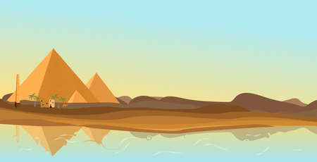 Egypt desert with pyramid and Nile