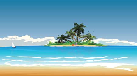 île tropicale en vue mer bleue d'une autre île