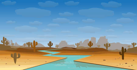 western landscape with desert and river with cactus