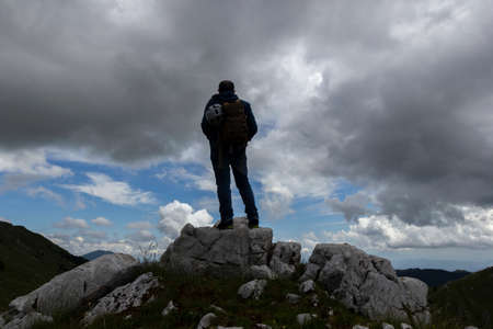 hiker on the top of a mountain on Gallinola in Matese Park