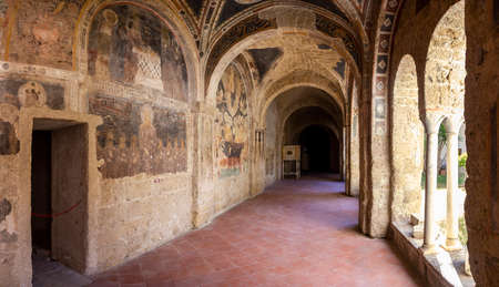 cloister of san francesco in Aversa with frescoes Stock Photo