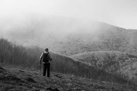 hiker on the top of a mountain in matese park Stock Photo
