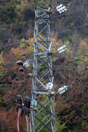 electricity pylons detail in prata sannita Stock Photo