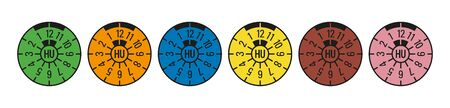German TV TUV inspection stickers in various colors Stock Illustratie