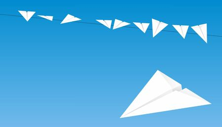 birds on a wire: paper planes sitting on a wire like a birds Illustration