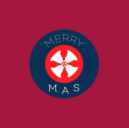 x mas: Flat icon set, christmas bells design, merry X mas text