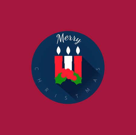 minimalist: 3 Christmas Candles, flat design, elegant minimalist set