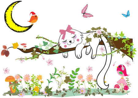 cat sleeping: Cute cat sleeping on the tree Illustration