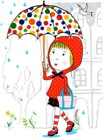 art activity: Illustration of cute girl and  with umbrella in rainy season