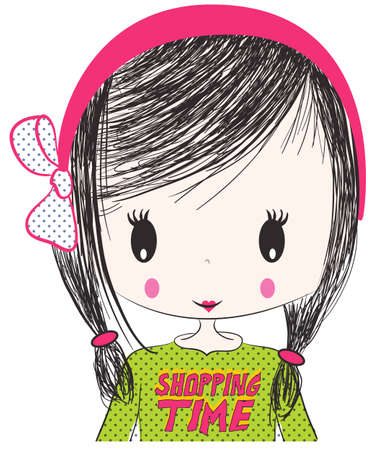 cool girl: cute girl illustration Illustration