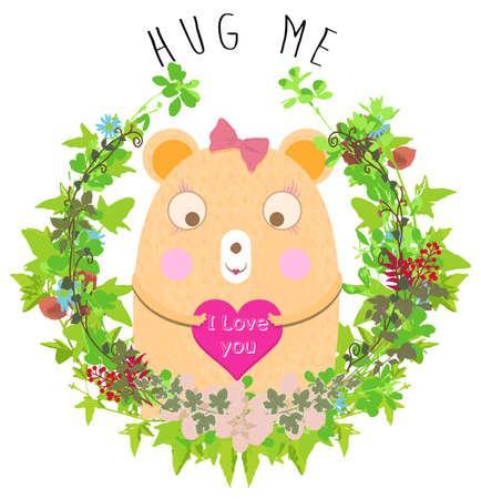 teddy wreath: Cute bear card with flowers kids girl t shirt design Illustration