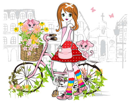 girl shirt: girl with bike