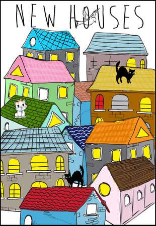 case colorate: Case colorate Vettoriali
