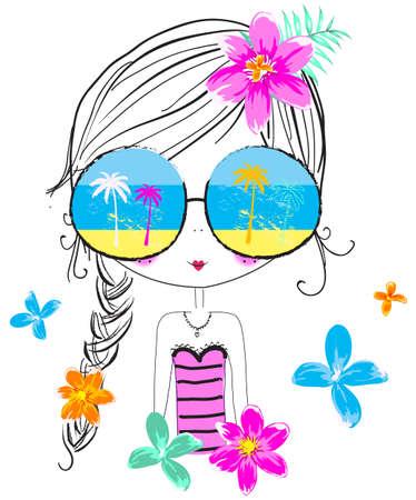 ni�as sonriendo: Verano linda chica  Camiseta Graphic  ilustraciones de libros de los ni�os  muchacha de la manera  ni�a ilustraciones  ilustraci�n hermosa chica  playa-mar tem�tico  muchacha dulce  ni�a bonita dise�o gr�fico  personaje; Verano linda chica  Camiseta Graphic  Illustrat el libro para ni�os