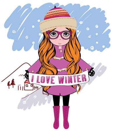 winter girl: winter girl vector illustration Illustration