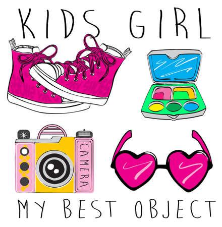 princesa: accesorios para chicas. signos y símbolos de chicas. vector dibujado a mano Doodle conjunto de las niñas. princesa iconos modernos. conjunto de niña. Objetos aislados vector. Colección de las cosas de la niña.