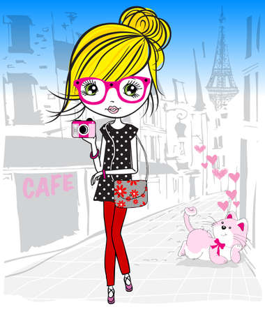beautiful girl cartoon: Cute girl in the paris