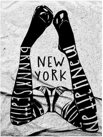 t bar: New york typography Sexy girl with a good figure