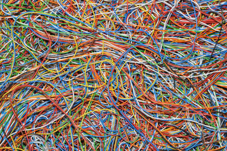 Tangle of colored wires, a global Internet network photo
