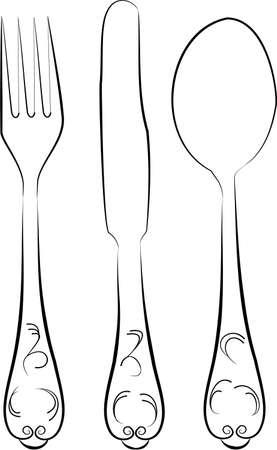 eating utensil: Fork, spoon and knife Illustration