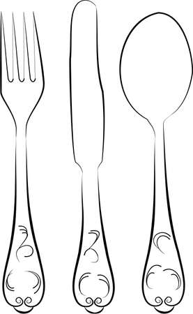 Fork, spoon and knife Illustration