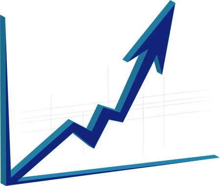 stock exchange brokers: graph growth  Illustration