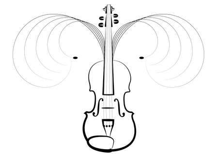 Violin symbol of classical music concerts, pleasant vibration in air Illustration