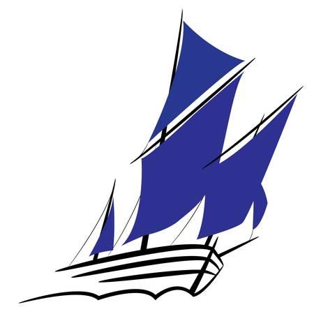 deportes nauticos: S�mbolo de un velero con las velas desplegadas