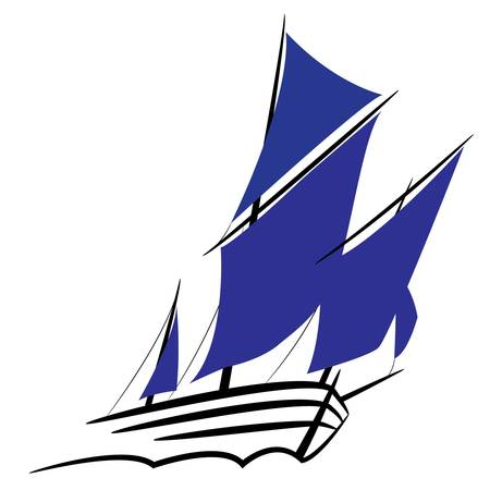Symbol of a sailing ship under full sail Vector