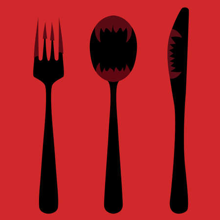 Knife, fork and spoon, menu hot as hell Vector
