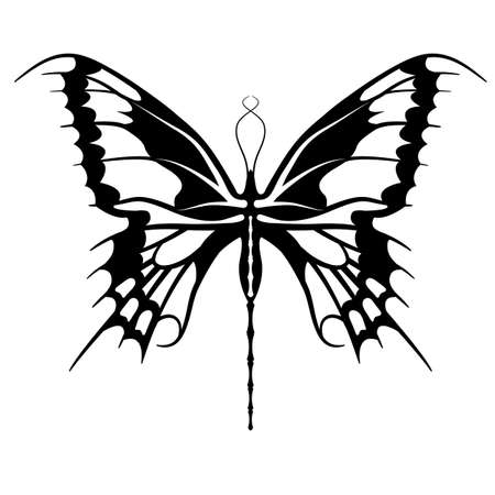 Female butterfly tattoo  Vector