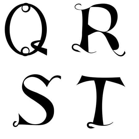 ビンテージの基本的なフォントのアルファベット文字