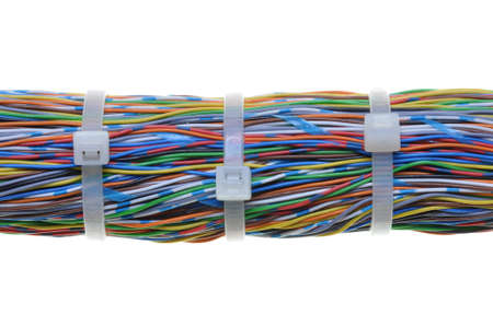 Bundle of color cables with white cable ties photo