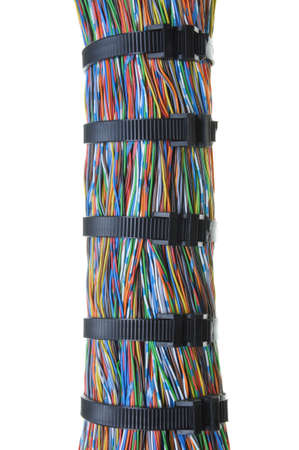 Bundle of color cables with black cable ties photo