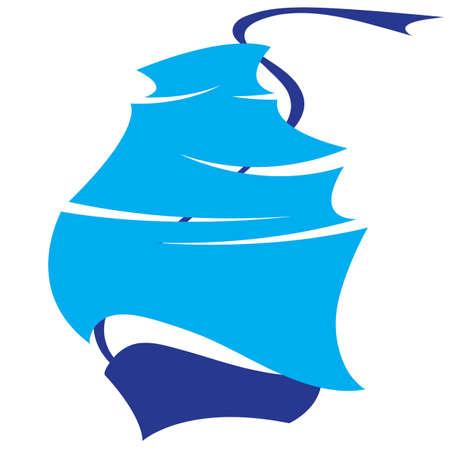 boat and sails symbol sea voyage Vector