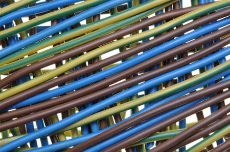 Standaard drie draden elektrische kabel-, distributie-panel Stockfoto