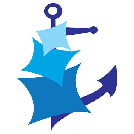 Sails and anchor symbol of sailing Vector