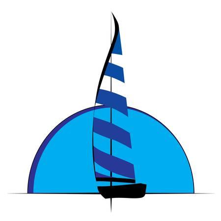 luxury yacht: Sailing ship sail symbol