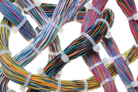 Bundles of network cables with cable ties photo