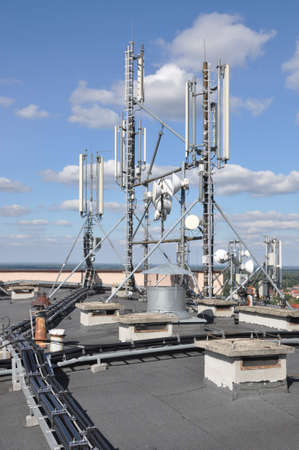 telco: Cellular communication system on the roof Stock Photo