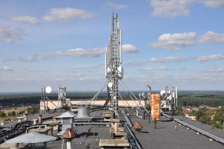 Cellular communication system on the roof photo