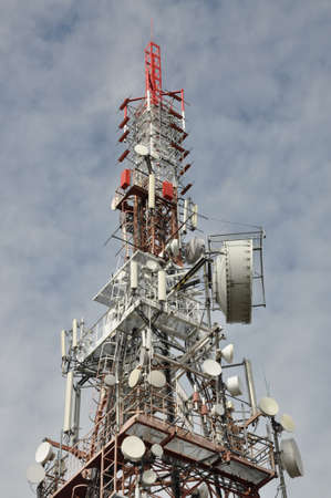 Tower with antennas, transmission systems Stock Photo