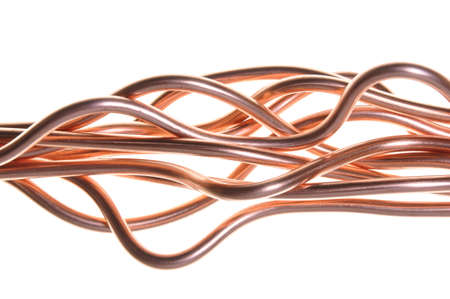 Copper wire wave isolated on white photo