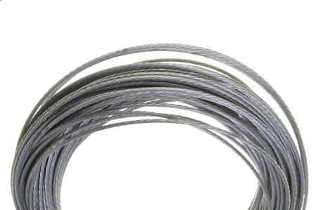bendable: Steel cable isolated on white background Stock Photo