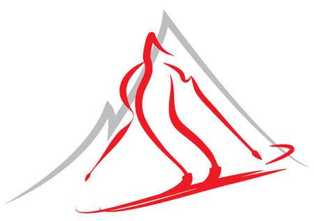 symbol of skiing, winter sports Vector