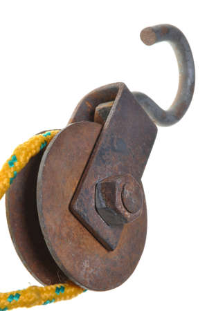 Old rusty pulley with rope Stock Photo - 16213875