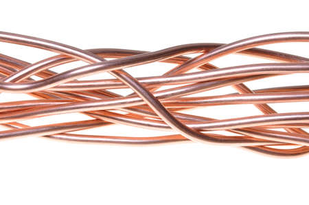 electrical wires: Red copper wire industry  Stock Photo
